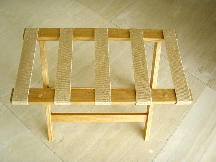 Stolac za odlaganje kofera masiv hrast natur i materijal juta